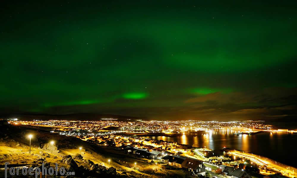 Aurora over Tórshavn Faroe Islands