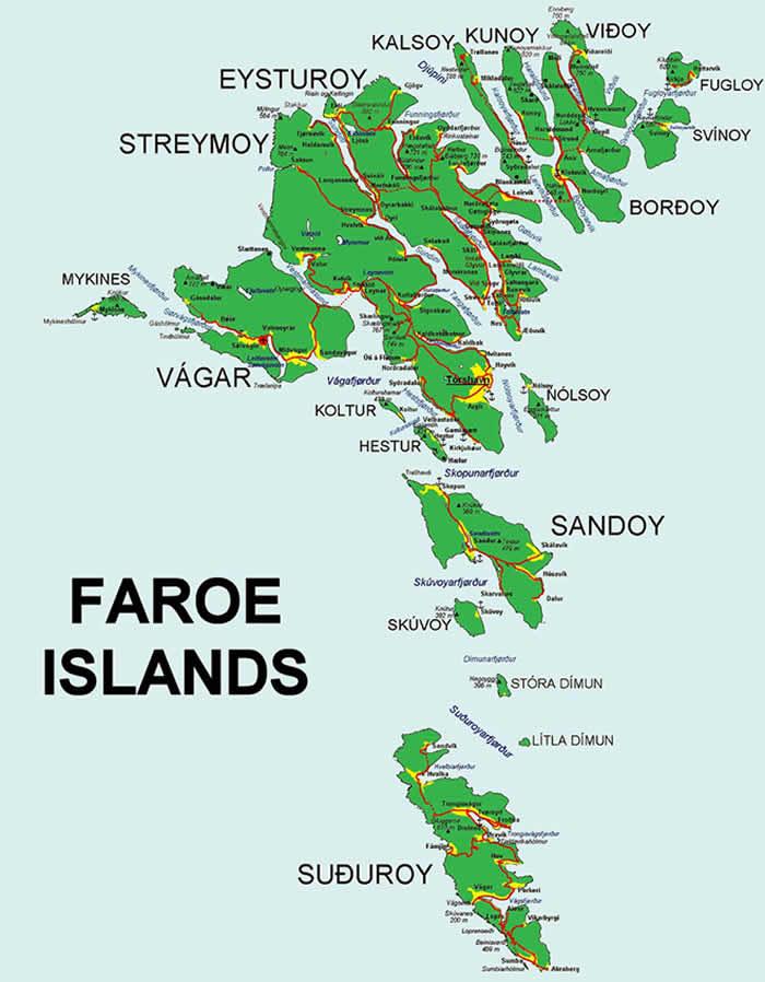 Faroe Isalnds Map