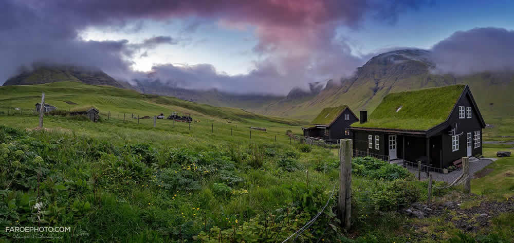 Grass covered roof in the Faroe Islands
