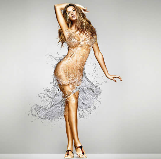 Gisele modeling a dress made of water